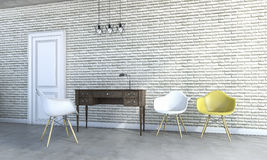 3d rendering loft chairs with classic furniture Royalty Free Stock Photography