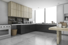 3d rendering loft concrete and black kitchen with wood shelf Stock Images