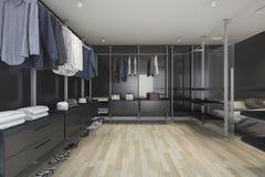 3d rendering loft dark walk in closet and living room Royalty Free Stock Photos