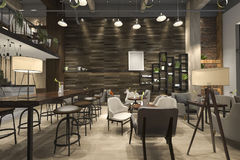3d rendering loft and luxury hotel reception and cafe lounge restaurant Stock Images