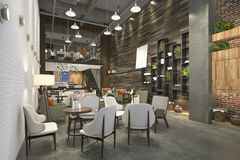 3d rendering loft and luxury hotel reception and cafe lounge restaurant Stock Photography