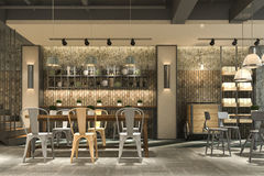3d rendering loft and luxury hotel reception and cafe lounge restaurant Royalty Free Stock Images
