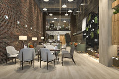 3d rendering loft and luxury hotel reception and cafe lounge restaurant Stock Photo