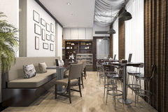 3d rendering loft and luxury hotel reception and cafe lounge restaurant Stock Image