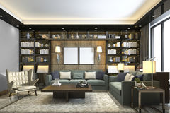 3d rendering loft luxury living room with bookshelf and library. 3d rendering interior and exterior design Royalty Free Stock Image