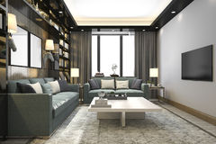 3d rendering loft luxury living room with bookshelf and library with tv Royalty Free Stock Image