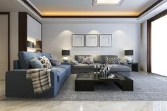 3d rendering loft luxury living room with bookshelf and tv. 3d rendering interior and exterior design Stock Photos
