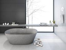 3d rendering loft minimal bathroom in winter Stock Photos