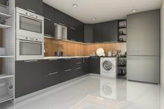 3d rendering loft modern black kitchen with washing machine stock illustration