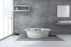 3d rendering loft style bathroom with nice winter view Stock Photography