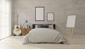 3D rendering Loft style bedroom frame for mock up stock illustration