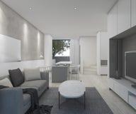 3D rendering loft style white living room Royalty Free Stock Image
