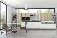 3d rendering loft wood kitchen with nice view from window. 3d rendering interior design by 3ds max Stock Image