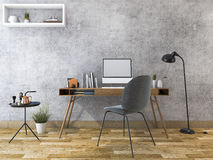 3d rendering loft working room with computer and book Royalty Free Stock Images