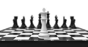 3d rendering of a lone white chess king stands on a chess board with black figures looming in the blurred background. Alone against enemy. Board games. Winning Stock Images