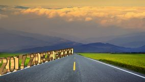 3d rendering of long road in mountains, panoramic image, Taiwan Royalty Free Stock Photo