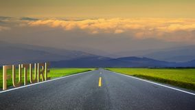 3d rendering of long road in mountains, panoramic image, Taiwan Stock Images