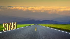long road in mountains, panoramic image, Taiwan Royalty Free Stock Photo