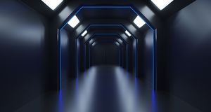 3d rendering of long sci-fi dark corridor with thin blue lights. And reflection Stock Image
