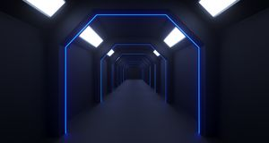 3d rendering of long sci-fi dark corridor with thin blue lights. And reflection Royalty Free Stock Photos