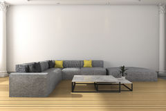 3d rendering long sofa set in white classic living room Royalty Free Stock Photos