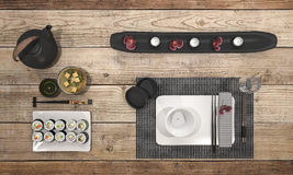3d rendering look delicious sushi plate with black bowl soup on dining table. 3d design and rendering  by 3dsmax Royalty Free Stock Photo