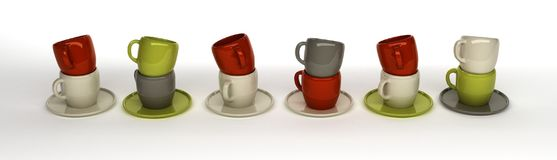 3d rendering of coffee cups on white ground. 3d rendering a lot of coffee cups on white ground royalty free illustration