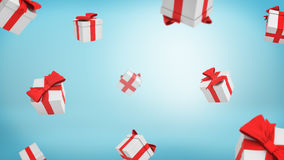 3d rendering of a lot of white closed gift boxes tied with red ribbons falling from above on blue background. Stock Images