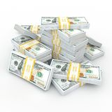3d rendering lots of packs of US dollars. In high quality Royalty Free Illustration