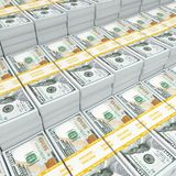3d rendering lots of packs of US dollars Stock Photo