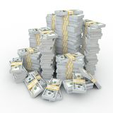 3d rendering lots of packs of US dollars. In high quality Stock Illustration