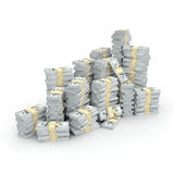 3d rendering lots of packs of US dollars Stock Photos