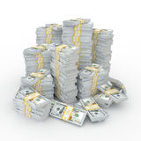 3d rendering lots of packs of US dollars. In high quality Stock Photography