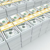 3d rendering lots of packs of US dollars Royalty Free Stock Images