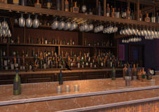 3D Rendering Lounge Bar. 3D rendering of a luxury night lounge bar Royalty Free Stock Photography