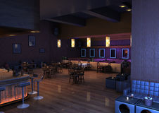 3D Rendering Lounge Bar. 3D rendering of a luxury night lounge bar in a purple light Stock Images