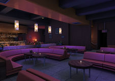 3D Rendering Lounge Bar. 3D rendering of a luxury night lounge bar in a purple light Stock Image