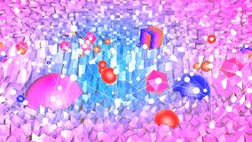 3d rendering low poly abstract geometric background with modern gradient colors. 3d red violet surface with spheres. 3d rendering low poly abstract geometric Stock Illustration