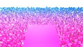 3d rendering low poly abstract geometric background with modern gradient colors. 3d surface as terrain with blue red. 3d rendering low poly abstract geometric Royalty Free Stock Photos