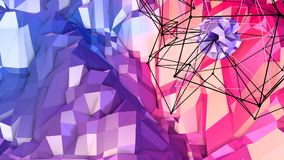 3d rendering low poly abstract geometric background with modern gradient colors. 3d surface as cartoon terrain with blue. 3d rendering low poly abstract Royalty Free Stock Photography