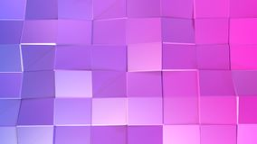 3d rendering low poly abstract geometric background with modern gradient colors. 3d surface of violet red squares v3. 3d rendering low poly abstract geometric Stock Image