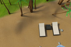 3D rendering of low poly beach scene with sun bed Stock Images
