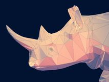 3D illustration of rhinoceros flat head. 3D rendering low poly flat graphic rhinoceros head on a black background Royalty Free Stock Photography
