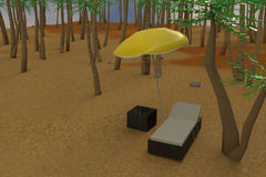 3D rendering of low poly sunbed on a beach Stock Photography