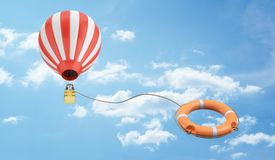 3d rendering of a low view on a hot air balloon flying away with an orange life buoy tied to it by the rope. Saved by good idea. Business and dreams Royalty Free Stock Photo