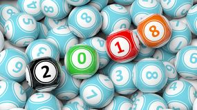 3D rendering of lucky colorful balls with 2018 Royalty Free Stock Photo