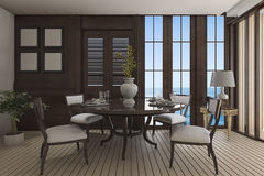 3d rendering luxury dining room with classic furniture with sea view Royalty Free Stock Photos