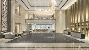 3d rendering luxury hotel reception hall and lounge restaurant royalty free illustration