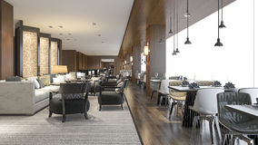3d rendering  luxury hotel reception and lounge restaurant Stock Image