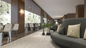 3d rendering luxury hotel reception and lounge restaurant Stock Photos